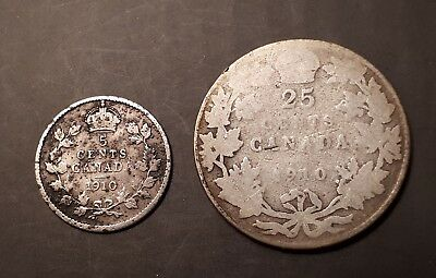 1910 Canada 5 Cents Coin and 1910 25 Cents Coin(92.5% Silver) - King Edward VII