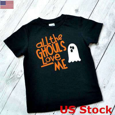 US Kids All The Ghouls Love Me T-shirt Halloween Costume Fancy Dress Ghost Boys