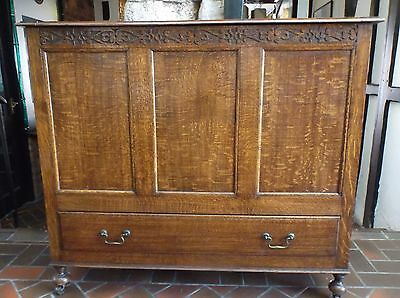 Quality large George V style, oak mule chest on castors