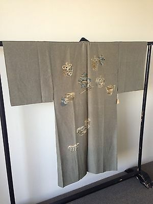 Vintage Men's Silk Japanese Kimono One of a Kind Hand Painted Costume Robe