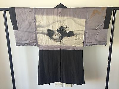 Japanese Kimono Men's Silk Haori Jacket One of a Kind Decoration Art Hand Made