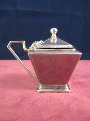 Hallmarked Solid  Sterling Silver Art Deco Mustard / Condiment Pot Sheffield