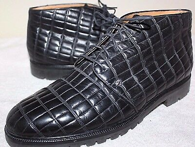 MEZLAN Melrose Ankle Boots Black Quilted Leather Men's US Size 10