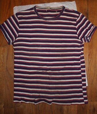 Vintage 1970s Girls' Stretchy White Powder Blue Navy Burgundy Striped Top