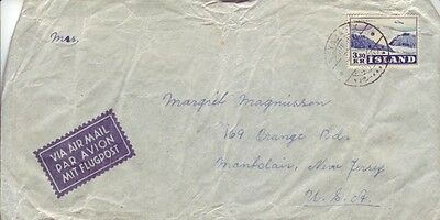 Iceland - Air Mail Reykjavk to Montclair, NJ, USA (Air Mail Cover) 1953