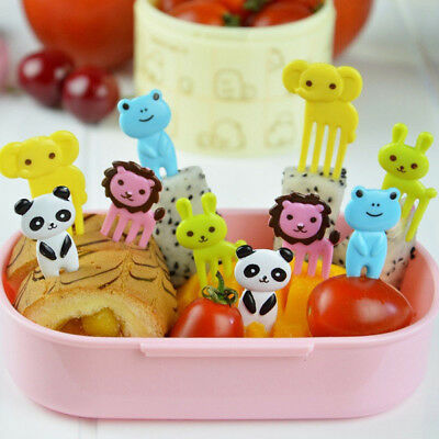 10Pcs Kid Child Animal Food Fruit Pick Fork Bento Lunch Box Decor Parts Reliable