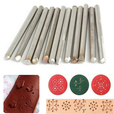 12pcs 6cm Steel Punches Flower Punch Stamp Set Jewelry Jewelers Metal Work Tool