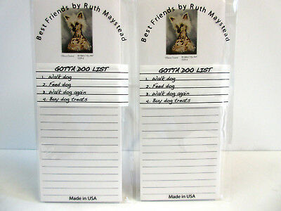 Chinese Crested Magnetic Refrigerator List Pad Set of 2 Pads Ruth Maystead CCR-2