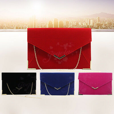 Ladies Style Suede Envelope Clutch Bag Evening Wedding Party Shoulder Bag Womens