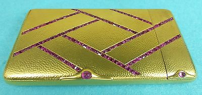Exceptional Art Deco Solid Gold Cigarette & Vesta Case Fine Rubies Striker C1925