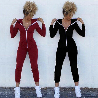 US Women Sport Suit Bodysuit Long Sleeve Zipper Hooded Jumpsuits Pants Playsuit