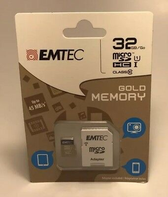 BRAND NEW EMTEC 32GB micro SD WITH ADAPTER  Factory Sealed Class 10