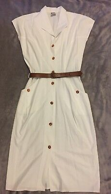 Vintage White Work Dress Size 10 Office 50s 60s Pin Up Retro 70s 80s