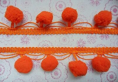 Orange Jumbo Pom Pom Ball Fringe Embroidery Sew On Appliques Trim Quilt Supplies
