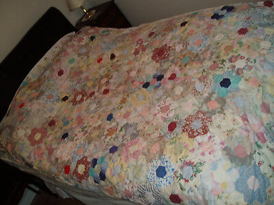 Vintage Handmade Patchwork Quilt Throw 5' X 7'8""