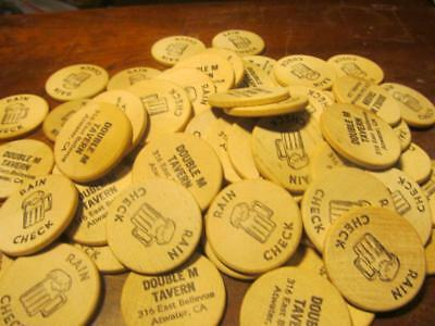 Lot Of 100 Wooden Nickels;beer Rain Check;double M Tavern;atwater,ca