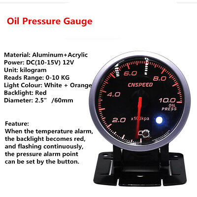 12V 2.5'' 60mm Step Motor Digital LED Oil Fuel Press Pressure Gauge Meter Light