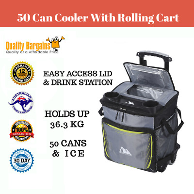 50 Can Cooler With Rolling Cart Camping Trolley Box Picnic BBQ Tote Bag
