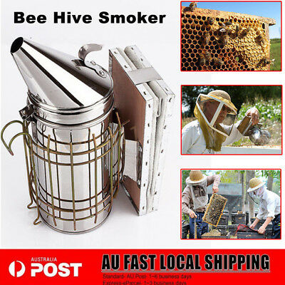 New Bee Hive Smoker Stainless Steel Beekeeping Equipment Tool w/ Heat Shield AU