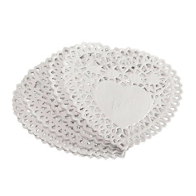 "100x 4"" White Love Heart Paper Lace Doilies doily For cardmaking scrapbookiY2B1"