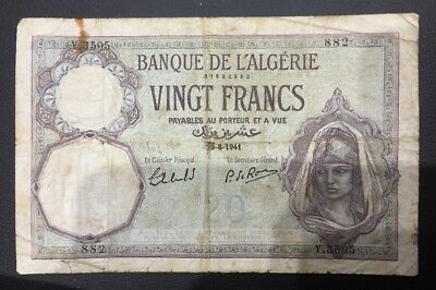 Rare 1941 Algeria 20 Francs Bank Note Rare