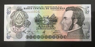 Banco Central De Hounduras 5 Cinco Lempiras Bank Note Rare Unc/a Unc