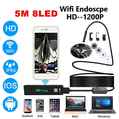 5M 1200P USB Wifi Endoskop Inspektion Kamera Wasserdicht Android iPhone PC 8LED
