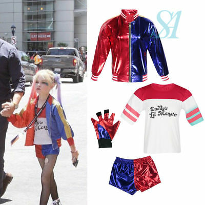 Halloween Kids Batman Suicide Squad Harley Quinn Girls Costume Cosplay Outfit