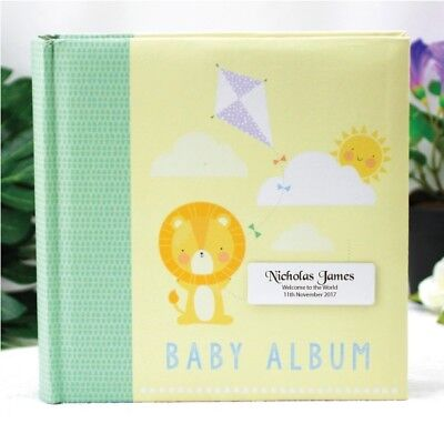 Personalised Baby Photo Album - Lion - Add a Name & Message