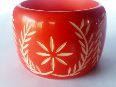 Retro Resin Lucite Plastic Bangle REd Carved LARGE