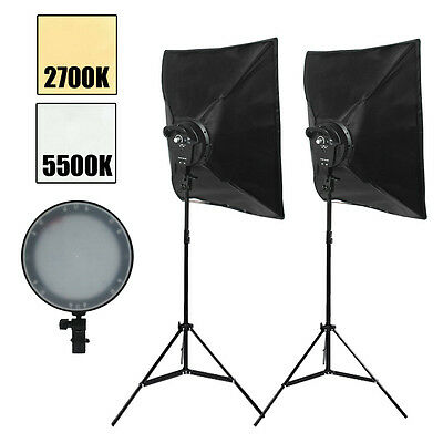 Photo Studio LED Dimmable Diffuser Softbox Continuous Soft Box Lighting Stand Ki