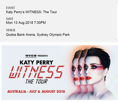 Katy Perry's WITNESS: The Tour SYD premium tickets x2