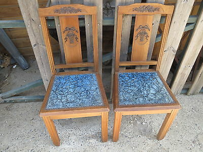 Set of 2 antique chair vintage above velvet pattern Louis XV years 1950