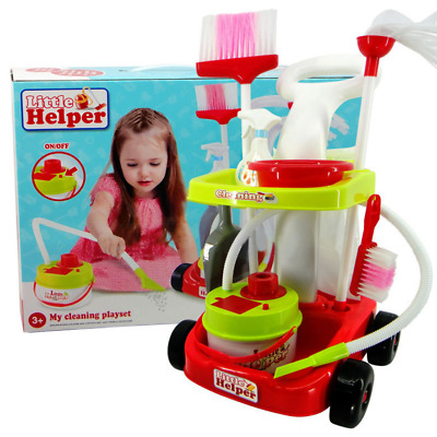 Little Helper Kids Cleaning Vacuum Trolley Play Set Toy Pretend New Set