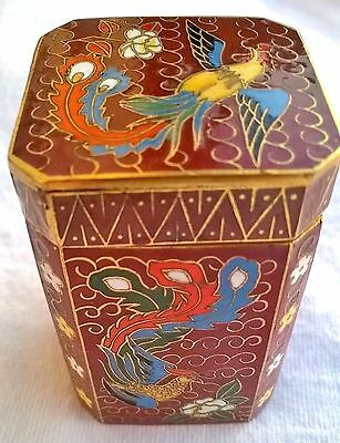 ✨ Cloisonné  Email kl. Deckeldose Emaille Messing China Zellenemaill  4