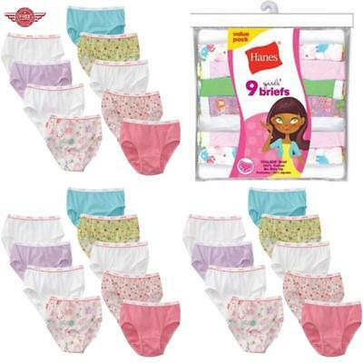 Big Girls' Brief Panties 9 Pack Size 16 Waist 27.5 Cotton No Ride Up Tag Less
