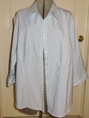 Nwt Dcc Woman White With Shades Of Blue Stripes Blouse Size 1X