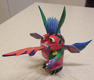 Wood Hand Carved & Painted Dragon Oaxaca Roberta Angeles Mexican Signed Folk Art