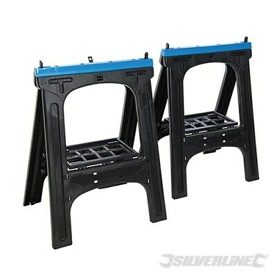 PLASTIC SAW HORSE/TRESTLE TWIN PACK MAX LOAD 200kg NON-SLIP RUBBER INSERT 973048