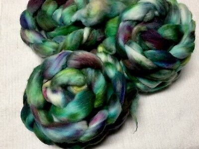 Hand Dyed Polworth  Tops For Spinning / Felting 100 Grams