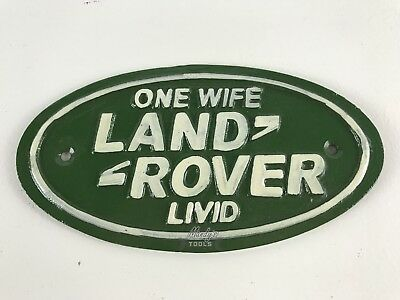 SMALL Land Rover ONE WIFE Livid 17cm Cast Iron Sign Green Oval Garden Garage ...