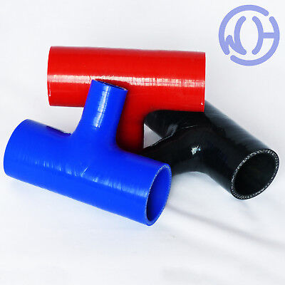 "2.5/"" Silicone TPiece Hose Dump Valve Silicone Rubber Joiner Pipe Tee Blue"