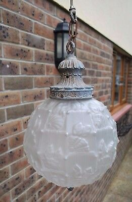 Genuine Large Art Deco Frosted Glass Lamp