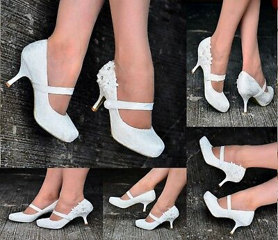 Ladies Ivory Lace Embellished Flower Detail Mid Heel Full Toe Mary Jane Shoes