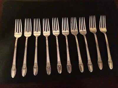 10 First Love Dinner Forks - Rogers Brothers Silver plated flatware