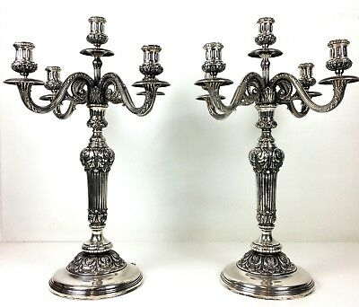 Pair Of Large 5 Light Chandeliers. 916 Silver. Punch D Garcia. Spain. Circa 1940
