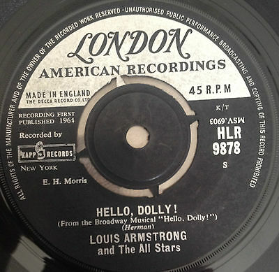 """7"""" Louis Armsrong & The All Stars Hello Dolly ! 1964."""