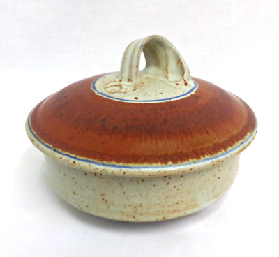 BEAUTIFUL Handmade Artisan Pottery Clay Serving Dish Bowl With Lid Speckle Glaze