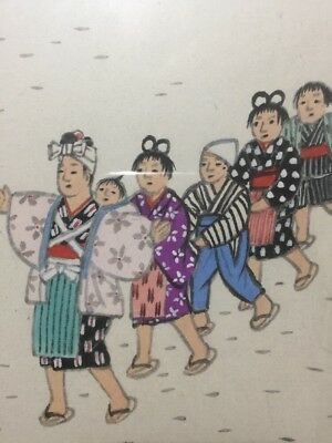 Japanese Original Vintage Antique Painting Teacher Children Signed