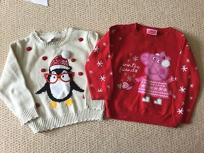 Girls Clothes 18-24 Months Christmas Jumpers X 2 Peppa Pig And Penguin